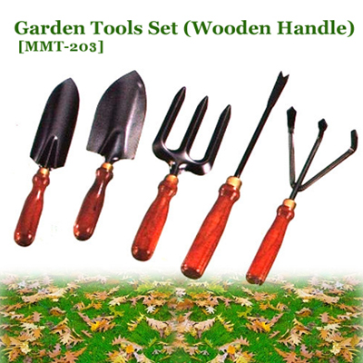 Garden Tools Set With Wooden Handle